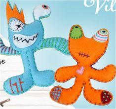 1. Knip (eventueel met een sjabloon) de voor- en achterkant uit.  2. Naai de voor- en achterkant samen met hechtsteken (bijvoorbeeld borduurgaren). 3. Vul je monster met zachte vulling en zorg ervoor dat je alles goed opvult (tip: gebruik een breinaald).  4. Naai het monster volledig dicht.  5. Versier het monster met stukjes vilt, textielstiften en wiebelogen. Tweety, Monsters, Dinosaur Stuffed Animal, Toys, Animals, Fictional Characters, Art, Seeds, Activity Toys