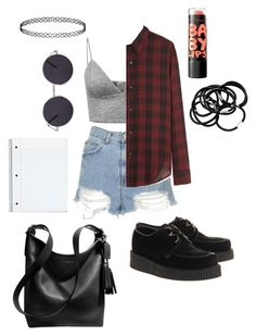 """Back to school grunge outfit."" by chloe002 ❤ liked on Polyvore featuring Topshop, H&M, Étoile Isabel Marant, Underground and Coach"