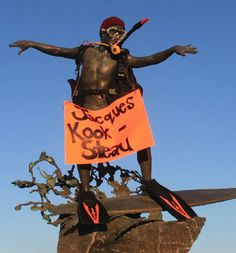 """The Cardiff Kook in Cardiff by the Sea California, gets """"Jaques Kook-Steaued"""" by some creative Aqua Lung Fans!"""