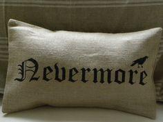Halloween crow raven edgar allan poe burlap pillow cover