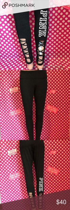 """🆕NWT VS PINK strappy back Yoga Legging 💖Thanks for shopping at Candy Land!💖  ✅NWT VS PINK strappy back yoga leggings.   ‼️PRICES ARE FIRM ~ My items are priced at the lowest already. Please do not ask """"lowest"""". Remember Posh takes a fee 😩.   ⭐️LOTS OF NWT VS PINK items for sale on my page! ⛔️PLEASE NOTE: NWT= New with tags OR New in online bag. PINK online orders come in bags with NO tags.  🚫NO HOLDS   🚫NO MODELING 🚫I DON'T TRADE ✋LOWBALLS WILL BE IGNORED ✋RUDE COMMENTS = BLOCKED PINK…"""