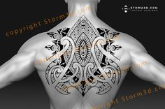 A beautiful large back tattoo with Marquesas and Maori patterns. The symmetrical tribal tattoo can be also be used upside-down, and scaled for a proper fit.