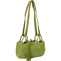 Moyna Handbags Beaded Shoulder Bag Lime - Moyna Handbags Fabric Handbags