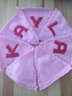 "Handmade Personalised Knitted Bunting ""Kayla"" Gift Baby Toddler  