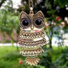Vintage antique brass owl long necklace pendant by BeautyandLuck