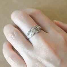 Vintage Engagement Ring Diamond Wedding Band Art Deco by fineNepic