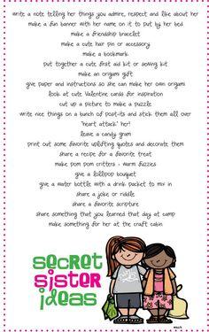 Secret Sister ideas- We did Secret Santa in 2nd grade and the girls loved it! I