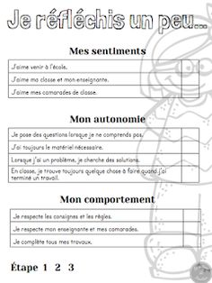 Un peu d'aide pour vos portfolios. Classroom Tools, Classroom Management, Teaching Tools, Teacher Resources, Bulletin Scolaire, Teaching French Immersion, Writing Circle, Professional Development For Teachers, Core French