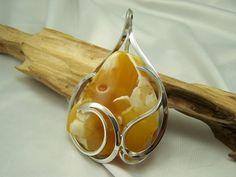 Large amber pendant - modern design.