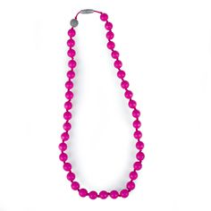 Itzy Ritzy Teething Happens Round Bead Necklace- Hot Pink