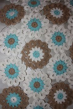 mocca and turquoise crochet blanket