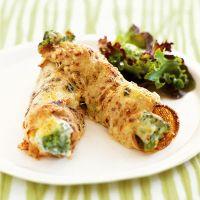 Cheesy pancakes with cauliflower and broccoli