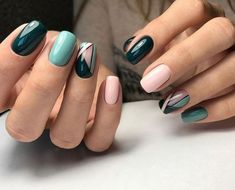 Colorful nails, Geometric nails, Ideas of colorful nails, Long nails, Nails ideas 2018, Original nails, Spring nail art, Spring nails 2018