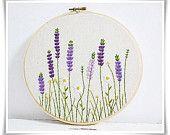 Lavender garden daisy garden hand embroidery in hoop wall art