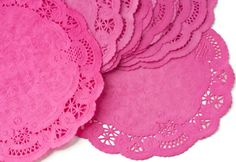 Raspberry pink paper doilies! decorating is easy with these!