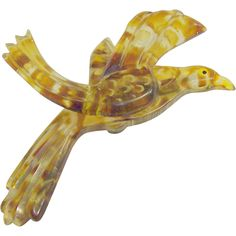 Lucite Bird Pin Carved & Painted Vintage Classic from Ravens View Jewelry on Ruby Lane