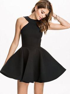 Black Halter Backless Flare Dress 22.00