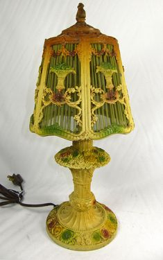 Vintage Table Barbola Lamp Boudoir Painted Handmade Green Shade Flowers Ribbon Swags Base 1920s -1930s