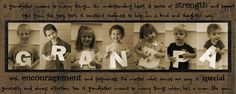 Oh! I LOVE this! You could do it with fewer kids (holding more than one letter in each photo or multiple shots of each child) or more kids (double up the kids in each frame). My parents would pass out from joy!