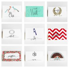Modern place cards from Mr. Boddington's Studio
