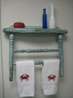 Shelf & towel rack from old chair