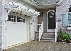 House Front, Garage Decor, House Exterior, Pergola Shade Cover, Garage Doors, Door Trellis, Door Arbor, Garage Door Trellis, Garage Trellis