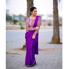 Beautiful Indian Girl Anasuya Hot Looking In Violet Saree