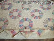 """Gorgeous Quilting! Vintage Never Used Feedsack Dresden Plate QUILT 84x84"""""""