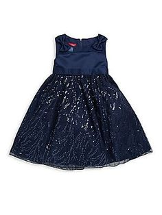 Princess Faith Little Girl's Sequined Dress - Navy - Size