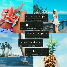 Subject=tropical beaches, fruit, summer fashion subjects, palm trees, green accents, blue majority