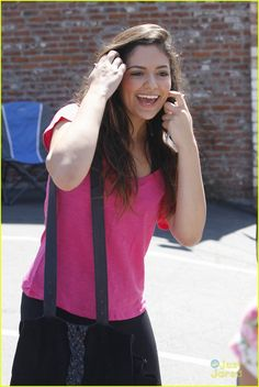 Bethany Mota heads into the dance studio in a hot pink tee for Dancing With The Stars in Los Angeles on Saturday afternoon (September 13).