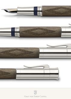 The valuable wood of the barrel and the masterfully crafted metal parts make the Pen of the Year 2010 an exclusive and individual fountain pen. The 18-carat bicolour gold nib is available in the line widths F, M, and B, each one 'run in' by hand. The platinum-plated end cap, decorated with a case-hardened metal disc, protects the knob for the plunger mechanism, on which each pen is individually numbered. Limited to: 1.500 fountain pens #grafvonfabercastell #fountainpen #penoftheyear #2010