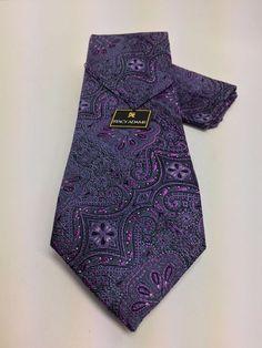 Stacy Adams Tie & Hanky Set Gray Lavender & Purple Men's Silk Made in the USA #StacyAdams #TieHankySet