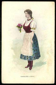 Hajdúsági leány | Képeslapok | Hungaricana Folk Costume, Costumes, Hungary, Folk Art, Disney Characters, Fictional Characters, Disney Princess, Painting, Romania