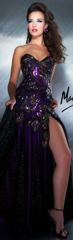 Mac Duggal couture dress purple