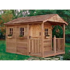Outdoor Living Today Santa Rosa 8 x 12 ft. Garden Shed - The Outdoor Living Today Santa Rosa 8 x 12 ft. Garden Shed is definitely not your typical backyard shed. This beautiful structure offers a deck . Wood Storage Sheds, Storage Shed Plans, Storage Area, Traditional Sheds, Cedar Garden, Garden Sheds, Cedar Deck, Pallet Shed, She Sheds