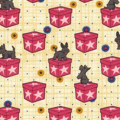 "Boxes are about 7/8"", 'Scottie Dog On Boxes' from the 'Lizzy Albright Attic Window' collection by Ricky Tims for Benartex. Quilt Fabrics from www.eQuilter.com Attic Window, Scottie Dog, Fabric Online, Retro Vintage, Raspberry, Boxes, Fabrics, Quilts, Collection"
