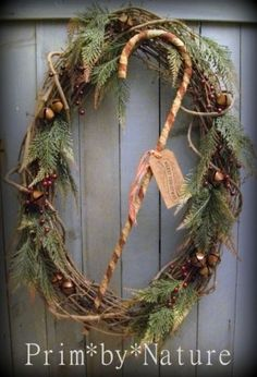 Primitive Christmas Wreath Large Shabby Candy Cane Jingle Bells Prim*by*Nature in Antiques, Primitives | eBay