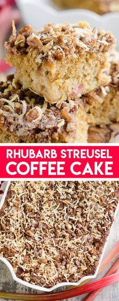 Rhubarb Streusel Coffee Cake is a moist buttermilk cake full of fresh rhubarb and topped with a crunchy coconut and pecan streusel. This recipe is sure to be your new favorite brunch dish every spring! Delicious Cake Recipes, Cupcake Recipes, Yummy Cakes, Cupcake Cakes, Dessert Recipes, Rhubarb Coffee Cakes, Streusel Coffee Cake, Cheesecake Desserts, Köstliche Desserts