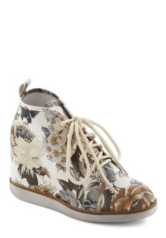 Ticket to the Garden Wedge by Jeffrey Campbell - Multi, White, Floral, Casual, Urban, Brown, Tan / Cream, Grey, Fall