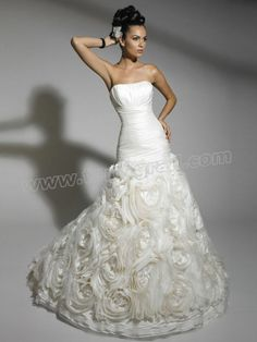 Strapless Sweep Train  Pleated Wedding Dress with Embroidered