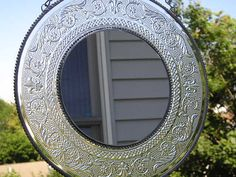 Fleurdelis Mirror  Vintage Plate  by CreativeSpiritGlass on Etsy, $35.00