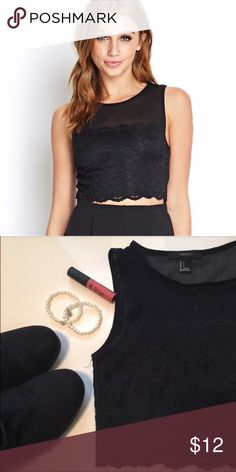 F21 Black Lace Mesh Crop Top This is a lace crop top from Forever 21. The top is mesh. It is super cute! It has been worn twice. Forever 21 Tops Crop Tops
