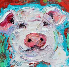 Original pig portrait painting palette knife oil by Karensfineart