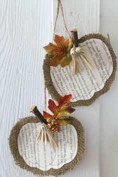 burlap and book page pumpkins - just stitch a book page pumpkin cutout onto a slightly larger burlap pumpkin cutout for a fall or thanksgiving decoration.