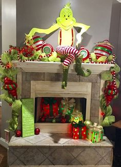My latest Grinch mantel! Grinch Christmas Decorations, Grinch Christmas Party, Christmas Post, Christmas Centerpieces, Christmas Projects, Christmas Crafts, Christmas Ornaments, Christmas Ideas, Le Grinch