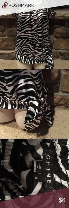 Zebra shirt Silky zebra shirt with tie on side chime Tops Blouses