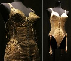 "#Madonna #corsets at the #JeanPaulGaultier #BrooklynMuseum exhibit called ""The Fashion World of Jean Paul Gaultier: From the Sidewalk to the Catwalk"", focusing on his work spanning from the 1970s to present."