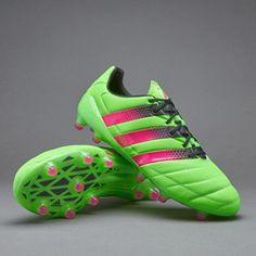 adidas ACE 16.1 FG/AG Leather - Solar Green/Shock Pink/Core Black