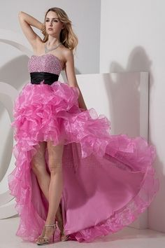 Cute Sweetheart Zipper Organza High Low Dresses - PD1284